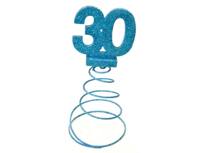 Lot de 10 centres de table pour anniversaire 30 ans - turquoise pailletée