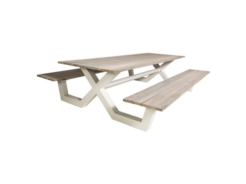 Table pique-nique alu blanc et teck 220 x 100 cm swindon