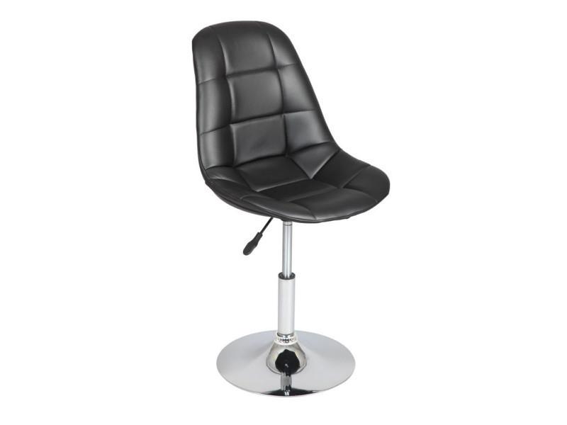 Chaise noir pied en acier finition chromée, dim l490 x l450 x h840 à 990 mm -pegane-