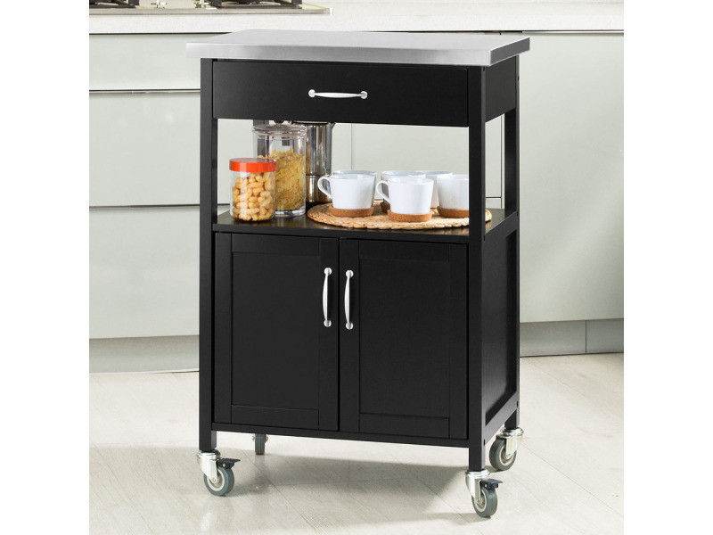 Desserte de cuisine roulante, meuble de rangement à roulettes plateau en acier inox fkw22-sch sobuy®