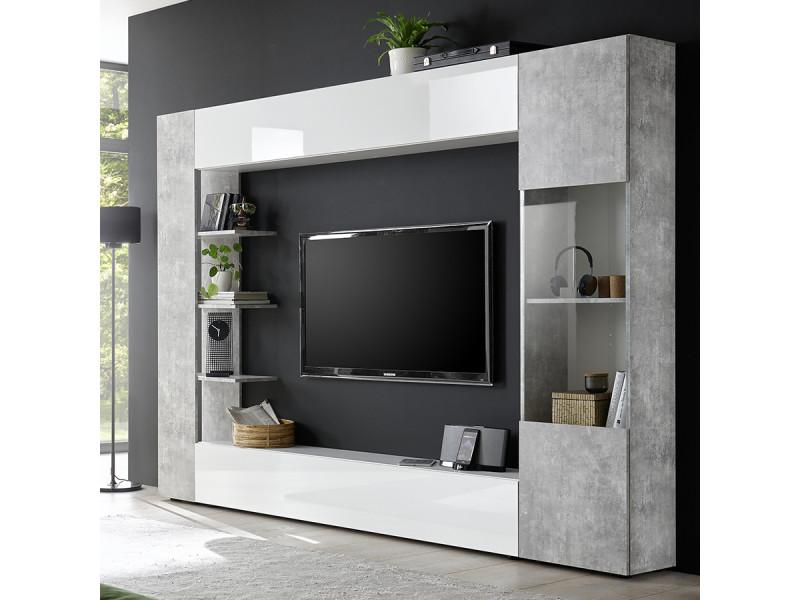 Meuble Tv Mural Blanc Et Gris Design Fino 2 Vente De Nouvomeuble