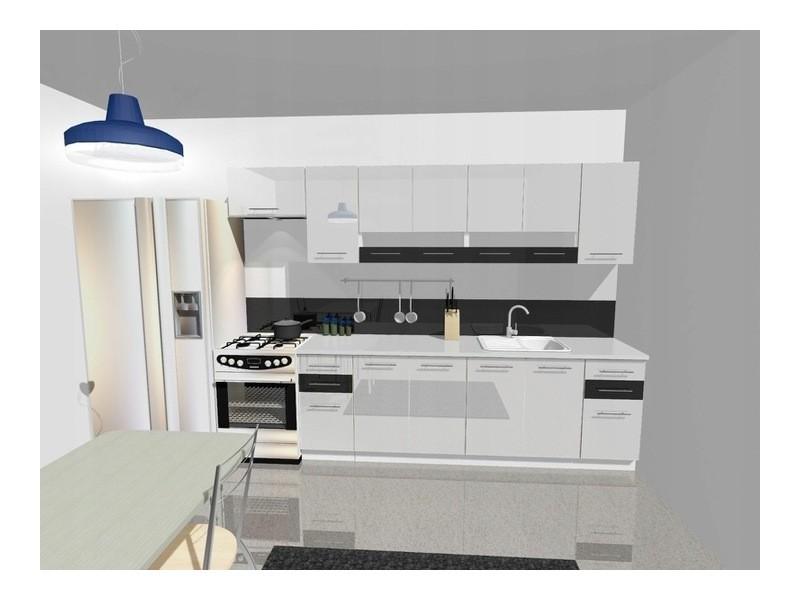King | cuisine complète linéaire l 300cm 9pcs | plan de travail inclus | meubles ensemble cuisine moderne | portes vitrées | blanc/noir