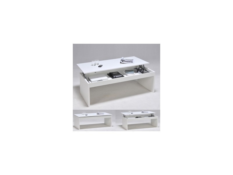 Table basse relevable rectangulaire en bois blanc darwin 02639