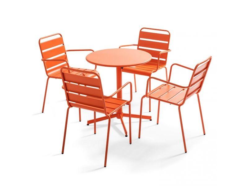 Table de jardin bistrot rabattable ⌀70cm et 4 fauteuils en métal palavas 4 places acier orange
