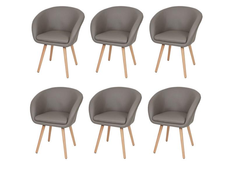 6x chaise de salle à manger malmö t633, fauteuil, design rétro des années 50 ~ similicuir, taupe
