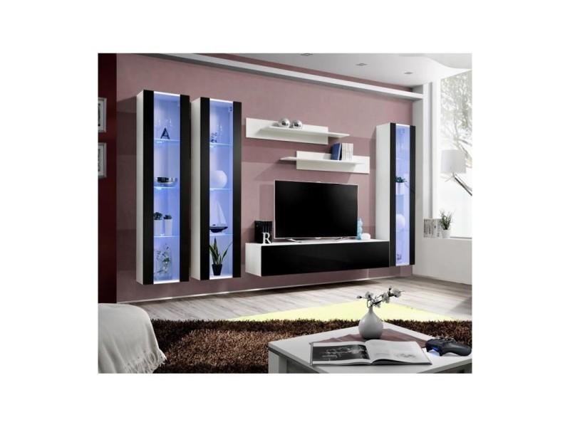Ensemble meuble tv mural fly-c noir et blanc avec led