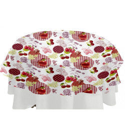 Nappe imperméable ronde en pvc - d 160cm - fruit rouge