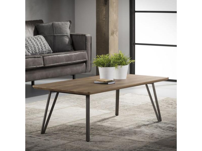 Table basse rectangulaire vintage en bois brun alban