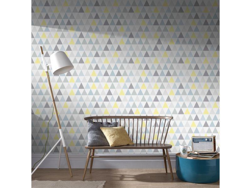 Papier peint intissé triangles de tarek vinyle 1005 x 52cm bleu, jaune 32-829