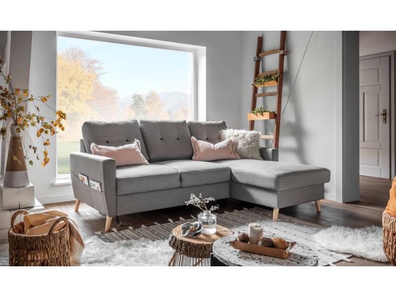 oslo canap d angle droite convertible gris clair 225x147x86cm vente de canap d 39 angle. Black Bedroom Furniture Sets. Home Design Ideas