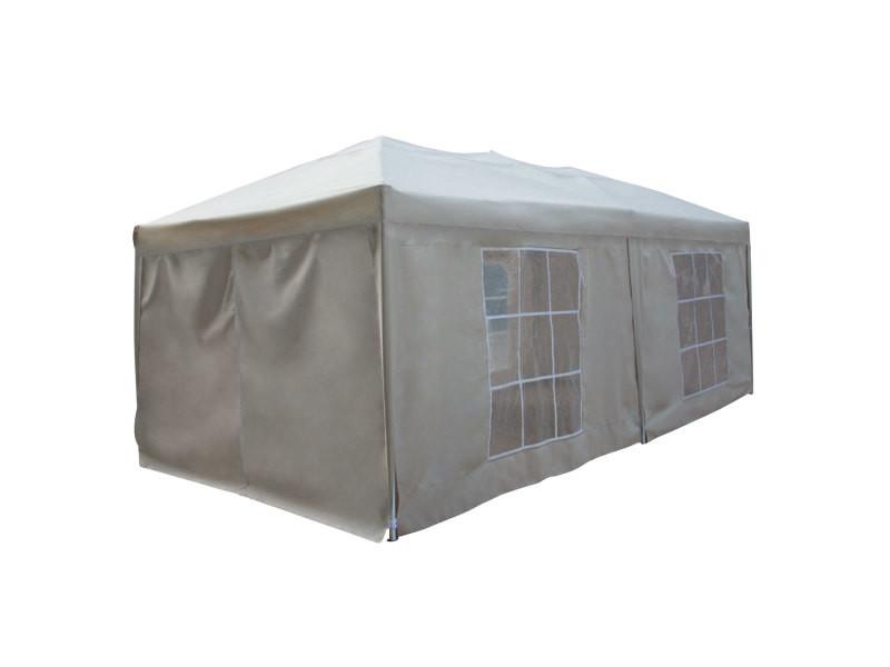 Tonnelle tente de réception mistral pliante 3 × 6m beige avec panneaux