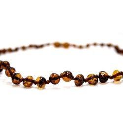 Collier d'ambre bébé petites perles rondes avec fermoir de sécurité