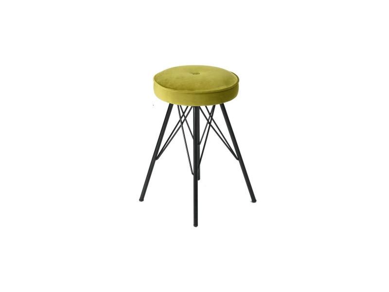 Eketahuna lot de 2 tabourets de salle a manger en métal - revetement velours vert anis - contemporain - l 30 x p 30 cm