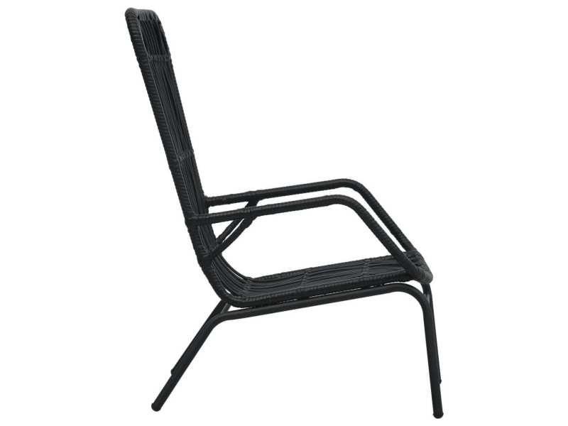 Vidaxl chaise de jardin résine tressée noir 48581