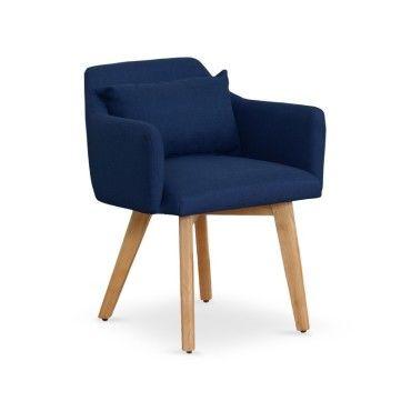 Chaise fauteuil scandinave gybson tissu bleu vente de for Fauteuil scandinave conforama