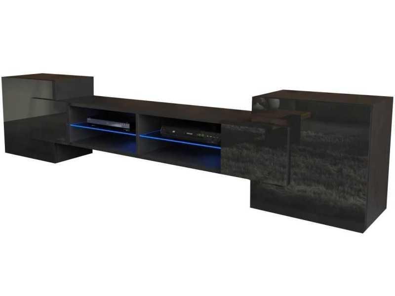Meuble tv 230 cm noir mat/ noir brillant + led rgb