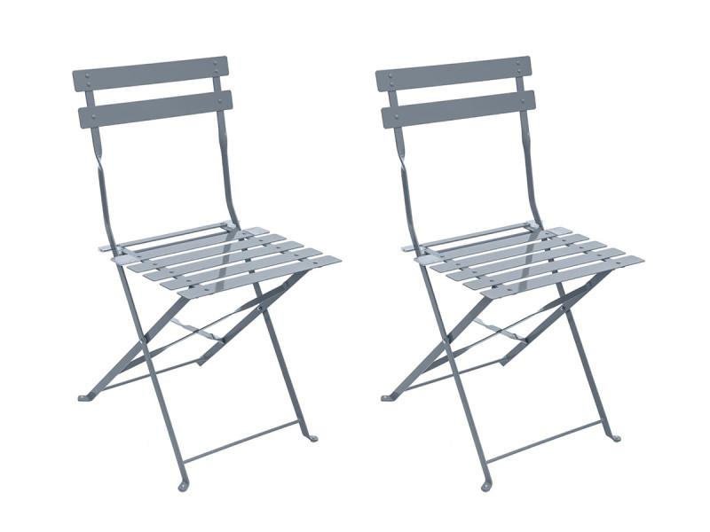Lot de 2 chaises de jardin métal pliante camargue ardoise mat - hesperide