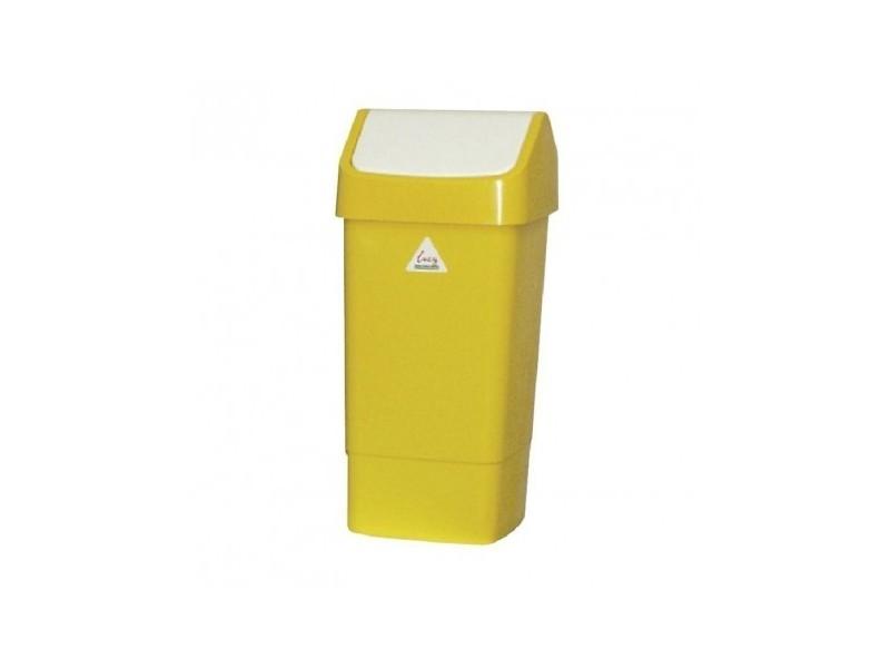 Poubelle jaune à couvercle battant 50 litres - scot young - polypropylène5000 cl