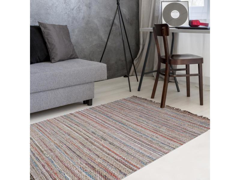 Tapis kilim 60x110 cm rectangulaire tealand multicolore entrée tissé à la main coton