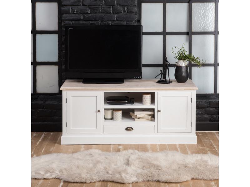 Meuble tv mdf blanc, 2 portes, 2 niches, 1 tiroir   fcj02