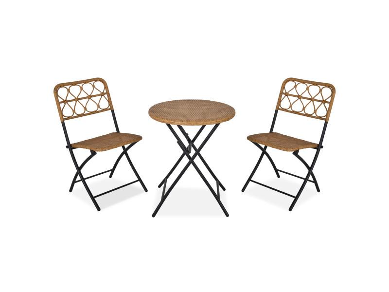 Ensemble bistro de jardin 3 pièces pliantes style cosy 2 chaises + table résine tressée beige acier époxy noir