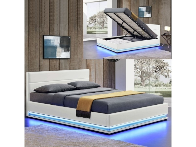 lit led avec coffre de rangement ava blanc tailles 140x190 vente de meubler design. Black Bedroom Furniture Sets. Home Design Ideas