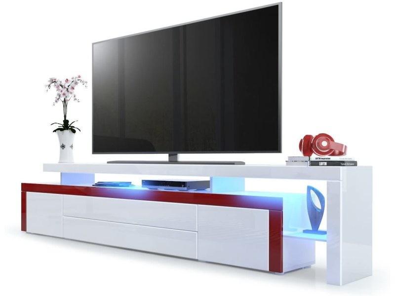 Meuble tv blanc / bordeaux laqué 227 cm