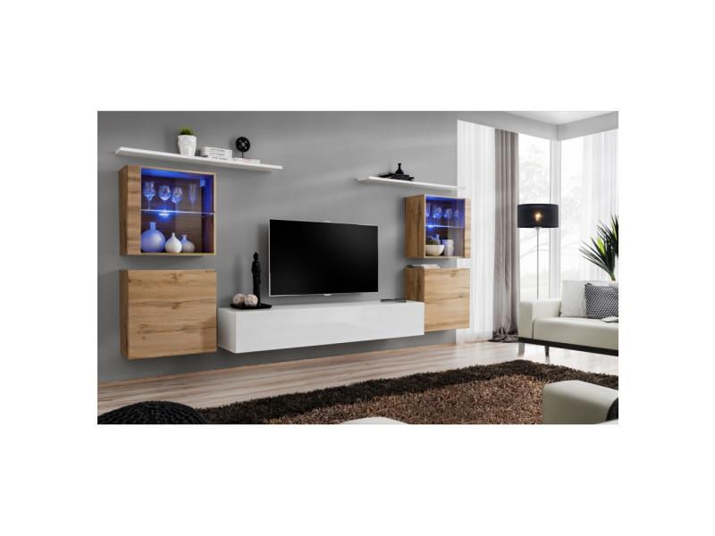 Ensemble mural - switch xiv - 4 vitrines - 1 banc tv - 2 étagères - bois et blanc - modèle 1
