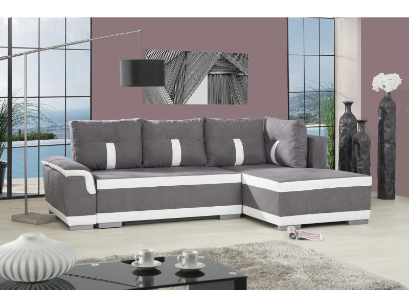 Canapé d'angle à droite convertible pu microfibre blanc gris - madrid