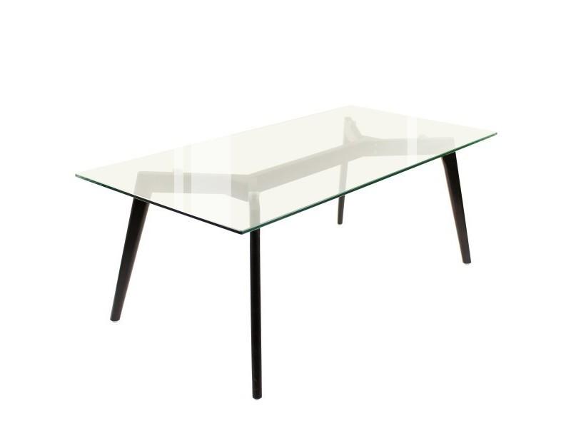 Table basse, 120 x 60 cm, plateau verre, pieds chêne noir