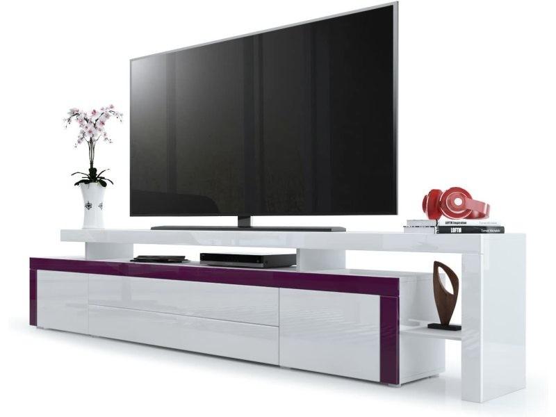 Meuble tv blanc / mûre laqué 227 cm