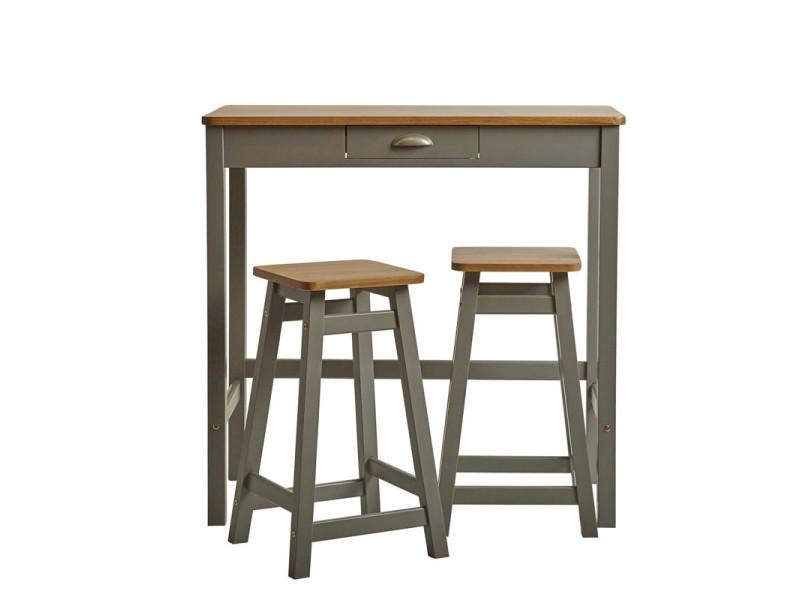 Table haute + 2 tabourets gris/bois - izat - l 90 x l 45 x h 90 - neuf