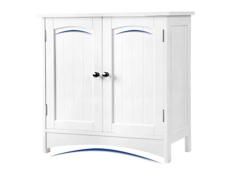 Meuble sous lavabo armoire de rangement meuble de salle de bain de vasagle 2 portes battantes 2 casiers 1 séparateur amovible anti-humidité 60 x 30 x 60 cm blanc bbc01wt Meuble sous lavabo 60 x 30 x 60 cm