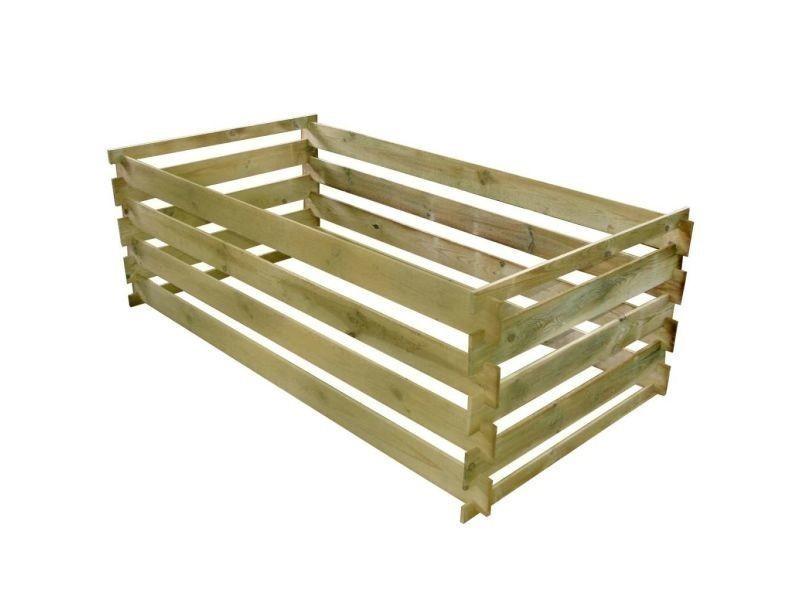 Vidaxl bac de compostage à lattes bois de pin imprégné 160 x 80 x 58 cm 42955