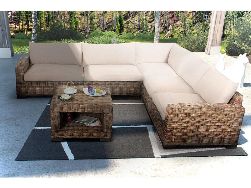 salon d 39 int rieur corner en rotin kubu conforama. Black Bedroom Furniture Sets. Home Design Ideas