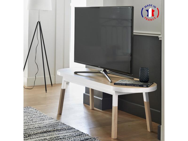 Meuble tv banc frêne massif 140x45 cm blanc balisson - 100% fabrication française