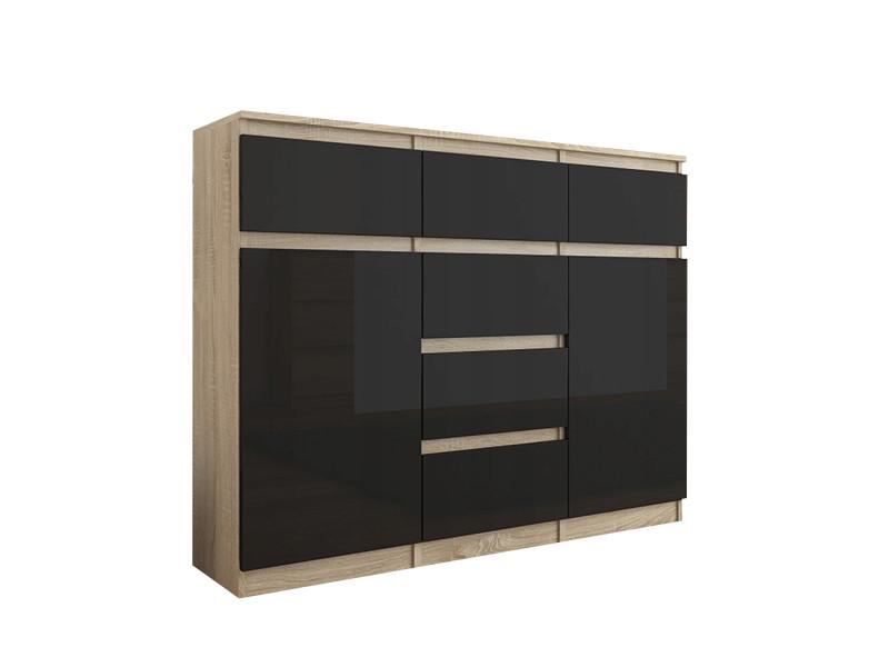 Monaco s2 | commode moderne meuble rangement chambre/salon | 120x40x98 cm | 6 tiroirs + 2 portes | finition laquée | buffet | sonoma/noir gloss