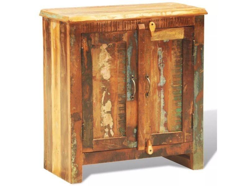 Vidaxl armoire vintage avec 2 portes bois massif de récupération
