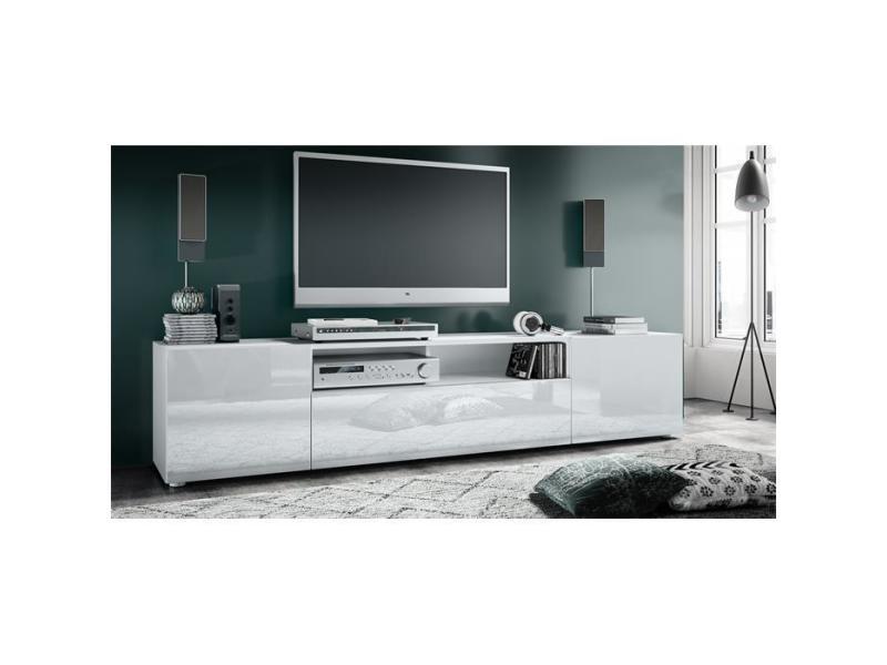 Meuble tv blanc mat façade laquée
