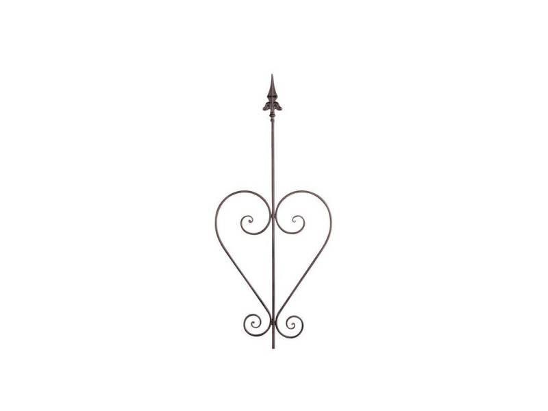 Tuteur à plantes ou pic de jardin motif fleur de lys à planter en fer patiné marron 1x38x180cm