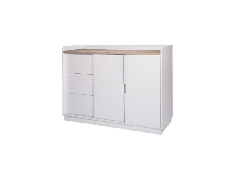 Oslo rangement 2 portes 3 tiroirs - blanc - l 120 x p 40 x h 85 cm HT190120