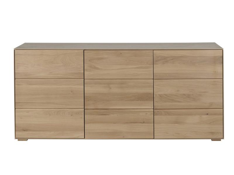 Buffet 3 portes filigrame en bois massif, finition chêne naturel