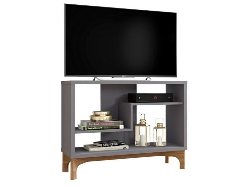 Meuble tv 90 cm gris et chêne design