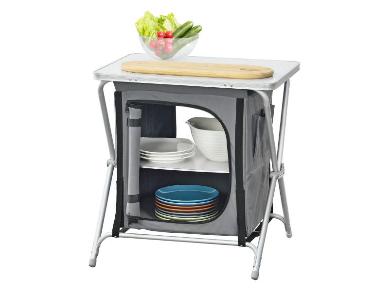 Meuble de rangement cuisine d'extérieur avec plan de travail cuisine de camping pliable avec sac de transport aluminium polyester mdf 64 x 60 x 45 cm gris foncé [en.casa]