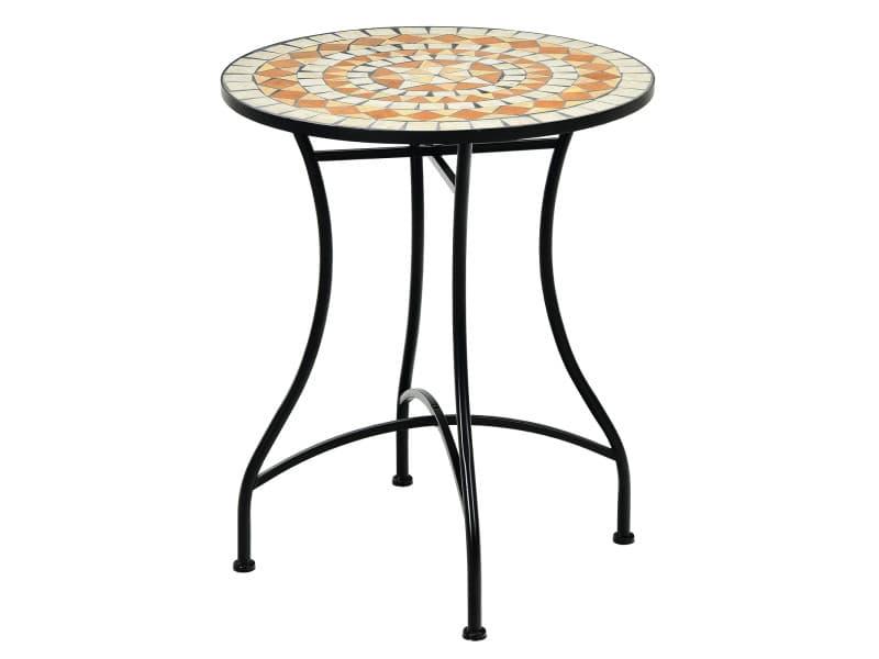 Giantex table de jardin style mosaïque, cadre en fer et revêtement antirouille pour 60 x 60 x 72 cm terrasse/salon/balcon