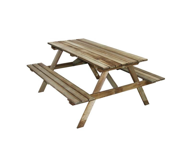 table pique nique en bois 4 places marly vente de cemonjardin conforama. Black Bedroom Furniture Sets. Home Design Ideas