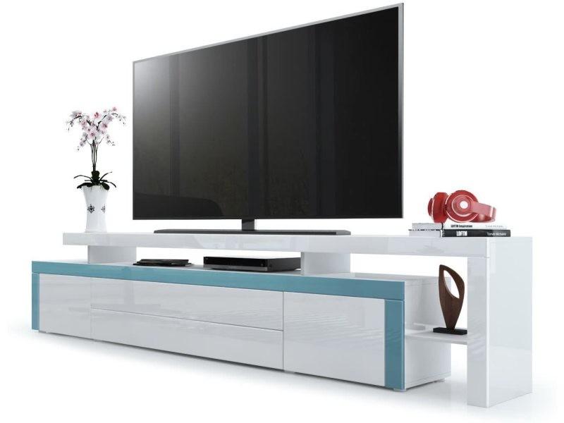 Meuble tv blanc / turquoise laqué 227 cm