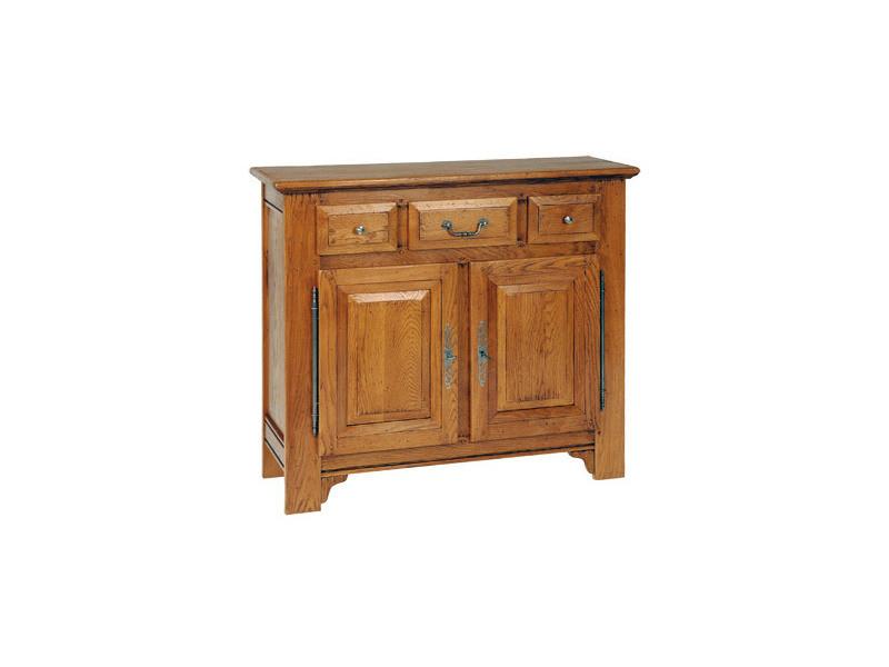 Meuble d'entrée 2 portes 3 tiroirs en chêne massif - achelet