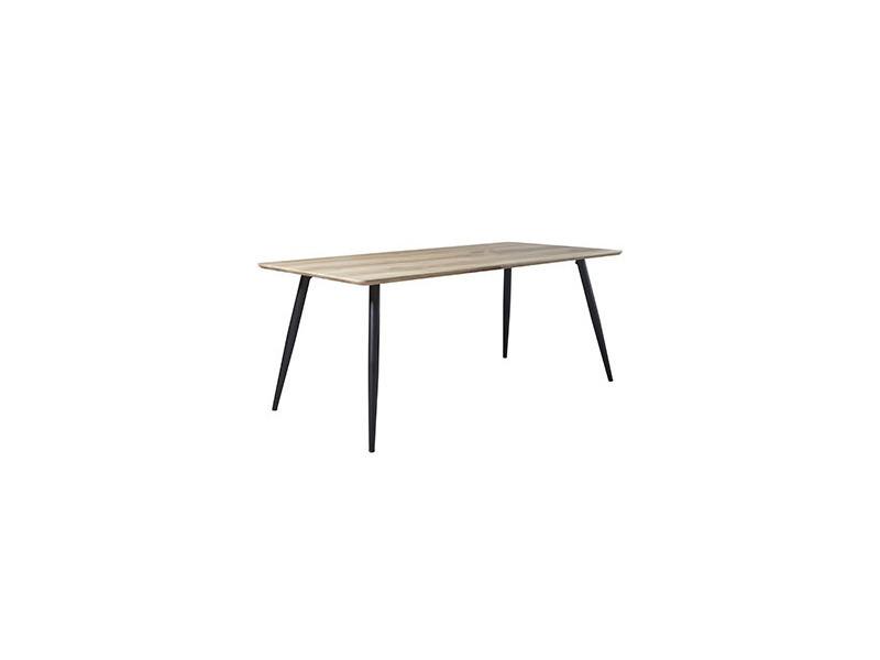 Table à manger 160x90x76cm mdf et acier - décor chêne