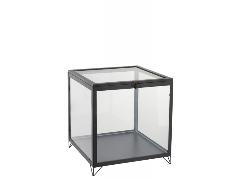 Boite en verre carree verre/metal noir h 41 cm